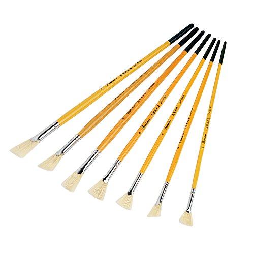 Lightwish White Bristle Stiff Fan Brush Paint Set of 7 for Oil, Gouache, Acrylic Brush Art Bristle Brush