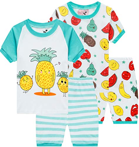 4 Organic Piece - Pajamas for Girls Summer Children 4 Pieces Pineapple Sleepwear Baby Fruit Clothes Kids Short PJs Set 6t