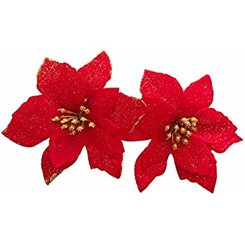 12pcs Artificial Christmas Flowers Red Poinsettia Christmas Tree Ornaments