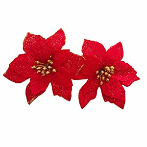 12pcs Artificial Christmas Flowers Red Poinsettia Christmas Tree Ornaments 3