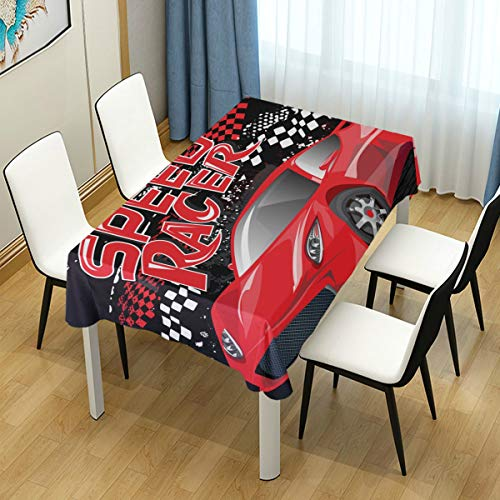 MIGAGA Decor Tablecloth Speed Racer Poster Red Sport Car Multicolor Rectangular Table Cover for Dining Room Kitchen Outdoor Picnic