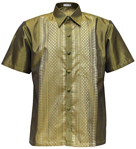 (THAI SILK Men's Short Sleeve Shirt Traditional Straight Band Collar Casual (Gold, M))