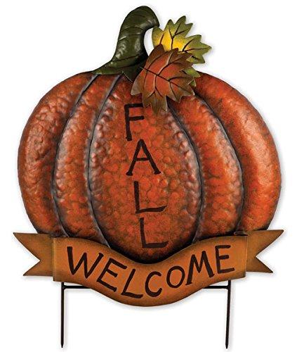 - Sunset Vista Designs Welcome Sign Fall Pumpkin Sculpture with Picks, 22
