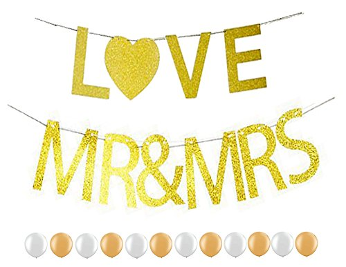 "Elecrainbow Gold Glitter ""Mr & Mrs"" , ""LOVE"" Banner for Vintage Rustic Wedding Backdrop Decoration, 12 pcs Shining (Banner Hoody)"