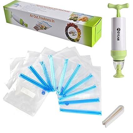 Yunhigh handheld alimentos sellador de vacío máquina portátil foodsaver bomba manual con 10 piezas de cocina reutilizable vacío sellado bolsas de ...