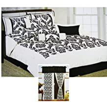 Avalon 7pcs Ensemble Bedding Set - King Size Complete Bed Set w/ 2 Window Draps (9cpcs Total)