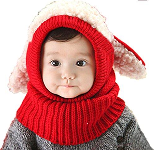 Full Details Monkey (TAORE Baby Girls Boys Winter Hat Scarf Earflap Hood Scarves Skull Caps (Red))