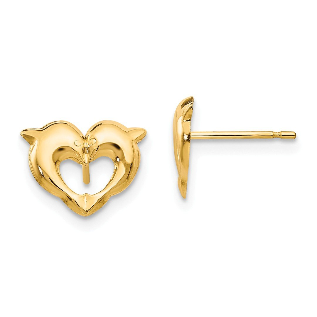 ICE CARATS 14kt Yellow Gold Heart Dolphins Post Stud Earrings Love Animal Sea Life Fine Jewelry Ideal Gifts For Women Gift Set From Heart