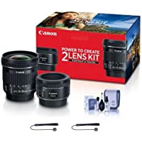 Canon Portrait & Travel 2 Lens Kit - EF 50mm f/1.8 STM Lens & EF-S 10-18mm f/4.5-5.6 IS STM Lens - Includes Cleaning Kit, Capleash II
