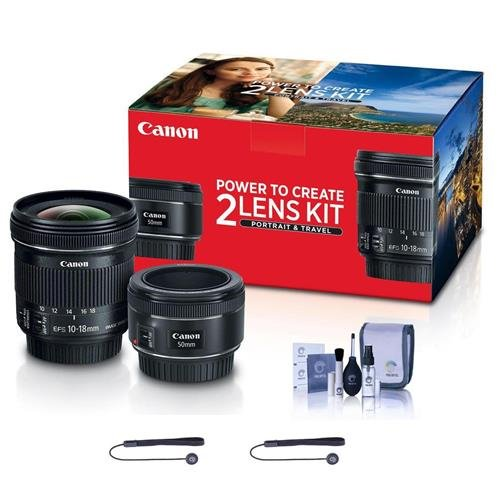 Canon Portrait & Travel 2 Lens Kit - EF 50mm f/1.8 STM Lens & EF-S 10-18mm f/4.5-5.6 is STM Lens - Includes Cleaning Kit, Capleash II by Canon