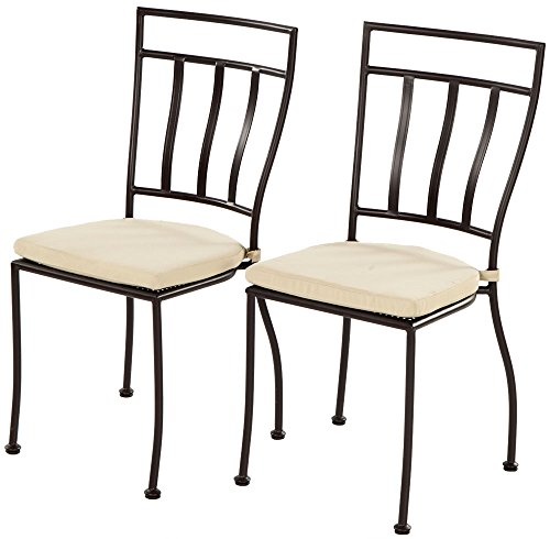 (Alfresco Home Semplice Bistro Chairs in Charcoal Finish with Cushion, Set of 2)
