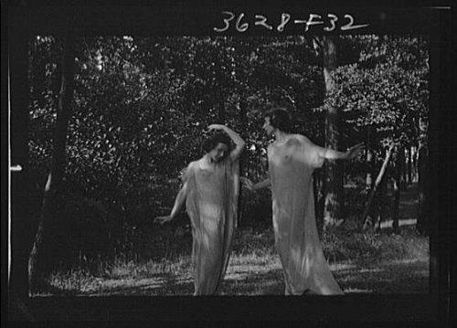 Infinite Photographs Photo: Desha,Leah dancing,Port Washington,sheer fabric,nudes,women,Arnold ()