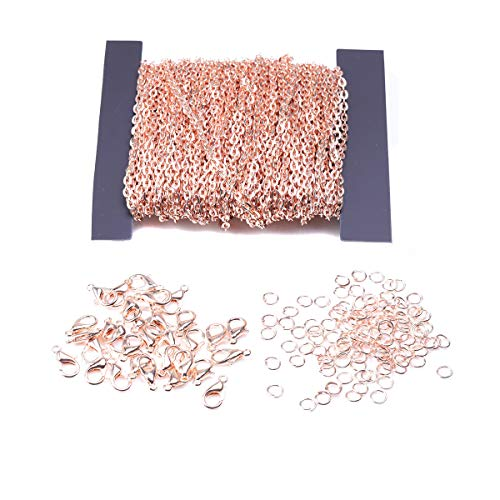 39 Feet Plated Round Cable Link Chain Necklace with 30pcs Lobster Clasps and 100pcs Open Jump Ring for DIY Making Bracelet Necklace Jewelry Accessories (Rose Gold, Link Size: 3 x 4 mm) (Round Link Cable Chain)