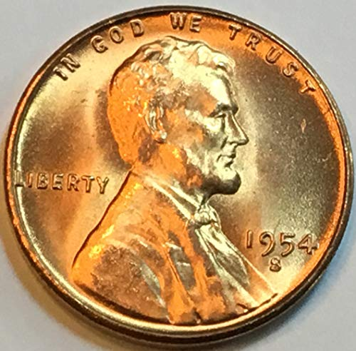 1954 S Lincoln Wheat Cent Penny Nearly Choice Brilliant Uncirculated