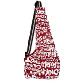 Lanpet Pets Travel Sling Dog Cat Single Shoulder Bag Outdoor Carrier Bag Oxford Fabric S01 (Medium, Red Letters)