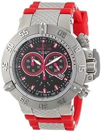 Invicta Men's 13999 Subaqua Chronograph Black Enamel Dial Red Silicone Watch