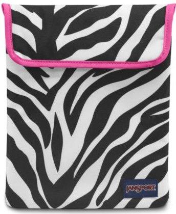 Pink Miss Zebra - JanSport 1.0 Tablet Sleeve BLACK/WHITE/PINK PANSY MISS ZEBRA Sleeve (T17E9XV)