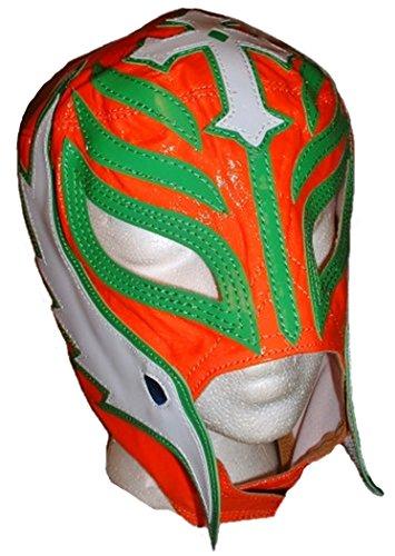 [WWE REY MYSTERIO Pro-Grade KIDS Orange Leather Mask] (Wwe Girl Costumes)
