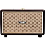 TEWELL Bookshelf Speaker, Retrorock 24W AC Powered Bluetooth Speakers with Deep Bass, Stereo Sound for Party, Bedroom, Living Room, Study (Brown)