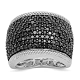 Jewelili Sterling Silver Black Diamond Classic Anniversary Band Ring, Size 7