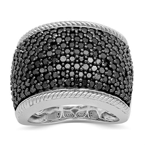 Jewelili Sterling Silver Black Diamond Classic Anniversary Band Ring, Size 7 by Jewelili