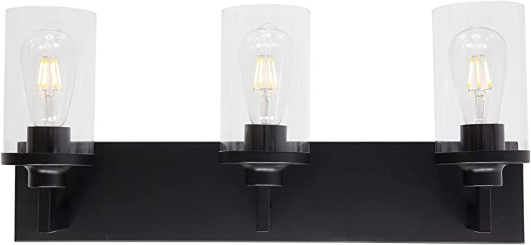 Xincan 3 Light Bathroom Vanity Lighting Over Mirror Iron Matte Black Finished With Clear Cylinder Glass Wall Light Fixture Amazon Com