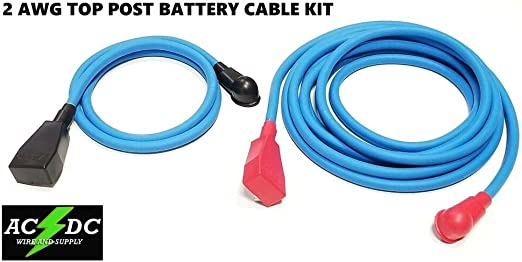 3/' BLUE USA Battery Relocation Kit Top Post 6/' BLUE # 4 Awg HD welding Cable