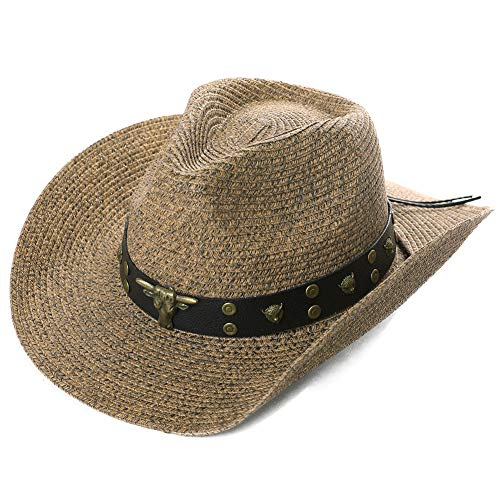 - Western Style Round Up Cowboy Straw Hat Ladies Fedora Chin Cord Vegan Leather Band Shapeable Brim Beach Cowgirl Brown