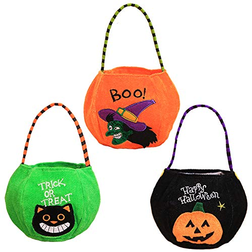 (Pack of 3) Halloween Trick or Treat Tote Bags - Reusable Candy Grocery Totes Halloween Party Favor Bags for Kids, Pumpkin, Black Cat, Witch -