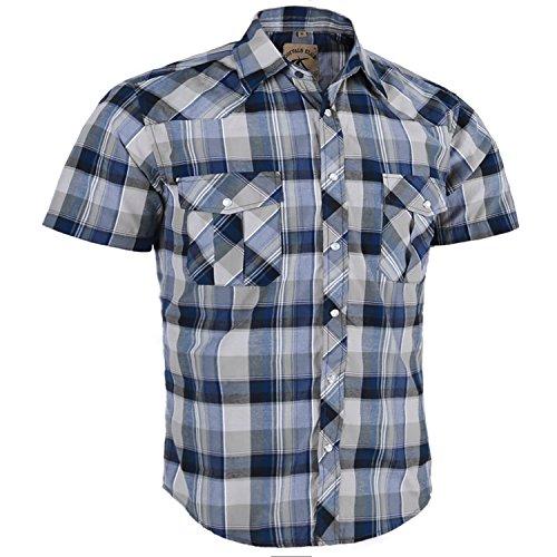 (Coevals Club Men's Casual Plaid Snap Front Short Sleeve Shirt (Gray / blue #13,)
