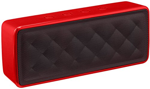 AmazonBasics - Altavoz portátil Bluetooth, color rojo