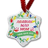 Personalized Name Christmas Ornament, Dog & Cat Mom Arabian Mau NEONBLOND