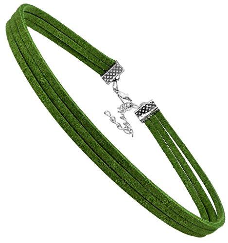 FIBO STEEL Choker Necklace for Women Girls Gothic Choker Velvet Necklace Green Three-Strand