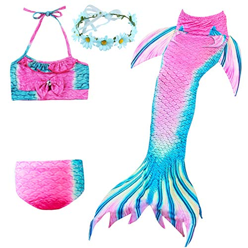 LANCYBABY 2018 3PCS Girls' Swimsuit Mermaid Tail for Swimming Princess Tropical Bikini Gift Masquerade Pool Party (A-Blue Cyan, Child Large / 7-8) -