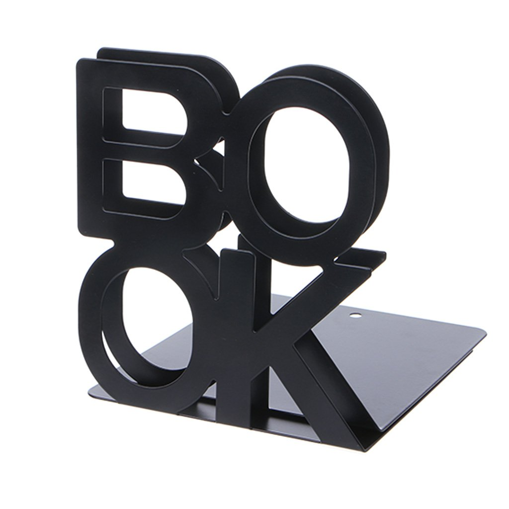 Forgun Alphabet Shaped Metal Bookends Iron Support Holder Desk Stands For Books (BLACK)