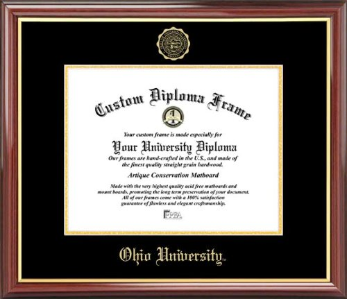 Embossed Seal Laminated Visuals Ohio University Bobcats Mahogany Gold Trim Diploma Frame