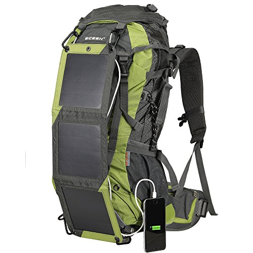 ECEEN Hiking Backpack Removable Frame Pack 10W Foldable Solar Phone Charger, 10000mAH Battery Pack, 2L Water Bladder, Rain Cover Camping Mountaineering Climbing Voyage Outdoor Sports (Panel Removable)
