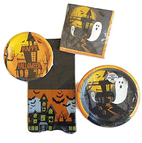 Halloween Party Supplies Paper Plate and Napkin Bundle of 4 - Service for 16 (Calabazas De Halloween Papel)