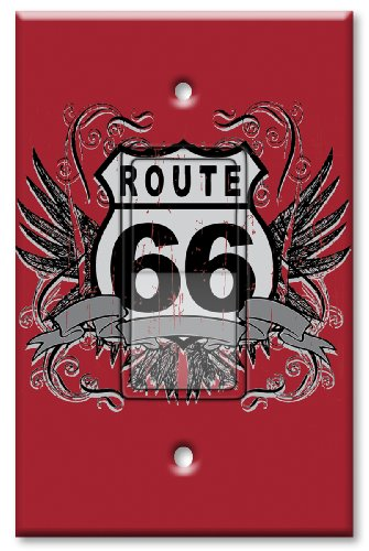 Printed Decora Rocker Style Switch with matching Wall Plate - Route 66 (66 Route Switchplate)