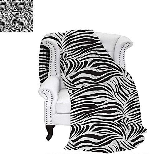 Custom Design Cozy Flannel Blanket Striped Zebra Animal Print Nature Wildlife Inspired Simplistic Illustration Lightweight Blanket 62