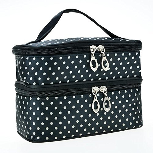 GuGio Travel Makeup Bag Cosmetic Organizer Case for Women, Double Layer Dot Toiletry Train Brush Bags for Girls Ladies