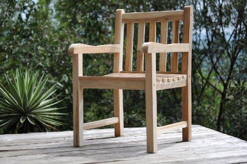 Garten-Sessel Caracas, Garten-Stuhl aus Teak-Holz, Massivholz Garten-Möbel Terrassen-Stuhl, Sitzgelegenheit mit Armlehnen, Balkon-Stuhl für Balkon Terrasse Garten
