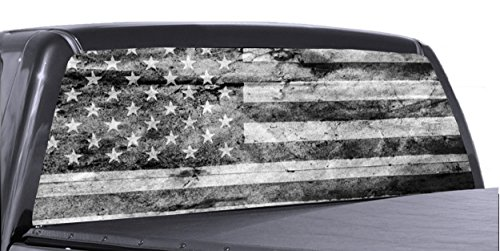 "55"" x 15"" Black and White American Flag Distressed Truck Rear Window Tint Perforated Vinyl Graphic"
