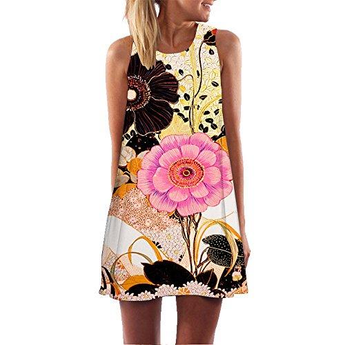 - Dressin Womens Dress Summer O-Neck Boho Sleeveless Floral Printed Beach Mini Dress Casual T-Shirt Tank Tops Short Dress