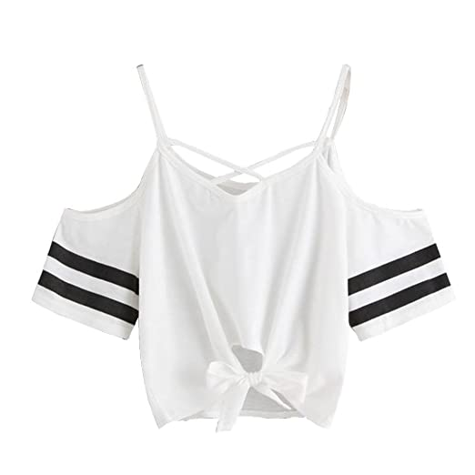 701a27901f889 BCDshop Women Teen Girl T Shirt Cold Shoulder Striped Short Sleeve Blouse  Crop Tops (White