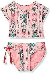 Gossip Girl Big Girls\' Desert Moon Two Piece Tankini Swimsuit, Brown/Pink, 14
