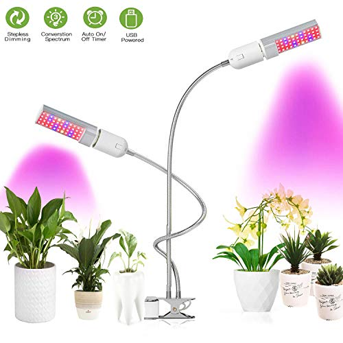 LED Plants Grow Lamp for Indoor Plants,48W 88 LEDs Ful/Blue Spectrum Dual Head Gooseneck Sunlike UV Plant Grow Lights with Timing Function