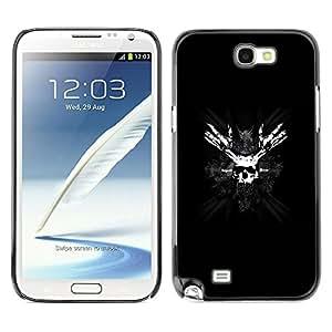 QCASE / Samsung Note 2 N7100 / símbolo blanco cara pirata cráneo huesos máscara negro / Delgado Negro Plástico caso cubierta Shell Armor Funda Case Cover