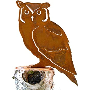 Elegant Garden Design Screech Owl, Steel Silhouette With Rusty Patina