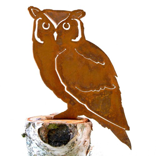 Elegant Garden Design Screech Owl, Steel Silhouette with Rusty Patina